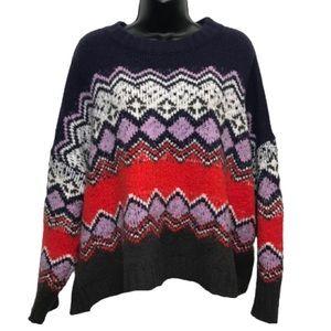 Aerie Oversized Bright Fair Isle Knit Crop Sweater